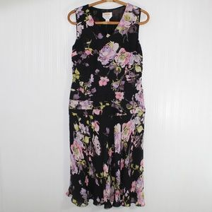 Talbots Silk Black Pink and Purple Floral Dress